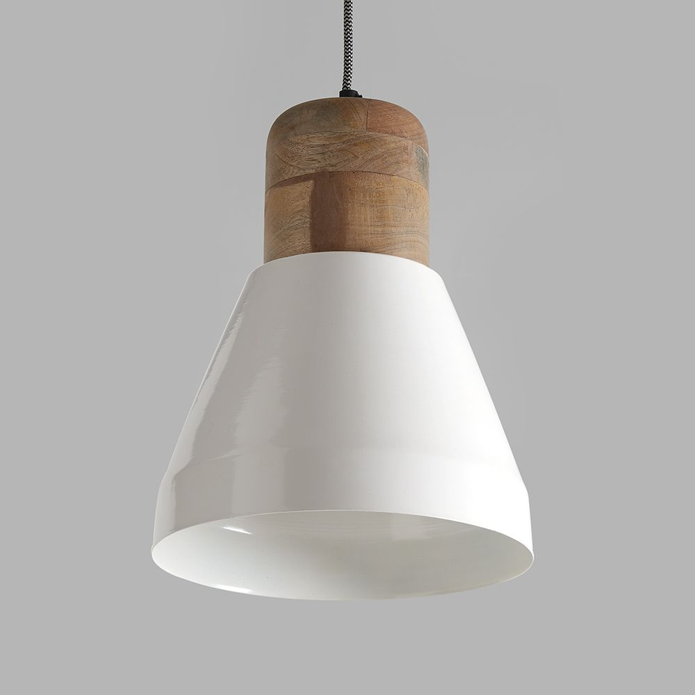 Izzy White And Natural Wood Pendant Light